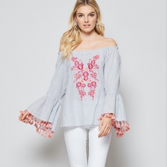 69fc4305ac2eb7 Off Shoulder Bell Sleeve Embroidered Top